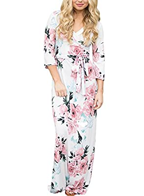 AlvaQ Women Wrap V Neck Waist With Tie Floral Maxi Dress (10 Printed ,S-XXL )