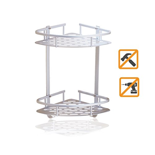 Middle Atlantic Steel Wall Mount (Sendida Bathroom Corner Shelf Rack - No Drilling, DIY, Super Strong Glue Adhering, SD173 Heavy Duty and Rustproof Aluminum 2 tiers Shower Storage Corner Shelves with Hooks)