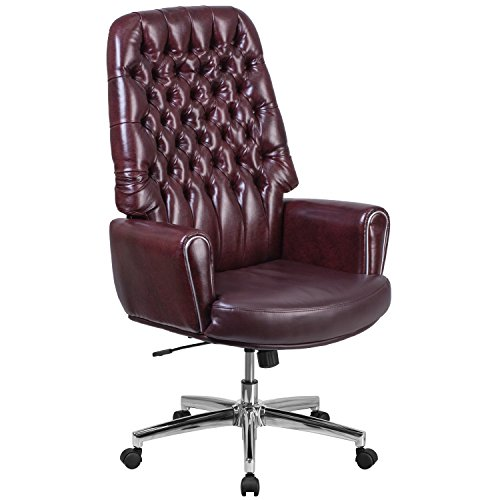 Flash Furniture High Back Traditional Tufted Burgundy Leather Executive Swivel Chair with (Burgundy Leather Traditional Executive Chair)