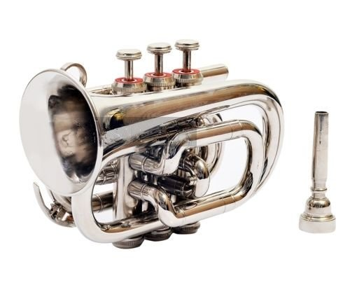 NEW POCKET TRUMPET CHROME FINISH B FLAT W/CASE+MP TRUMPET for sale  Delivered anywhere in USA