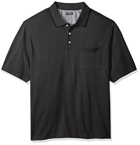 Van Heusen Men's Tall Jacquard Short Sleeve Polo, Deep Black, 4X-Large Big