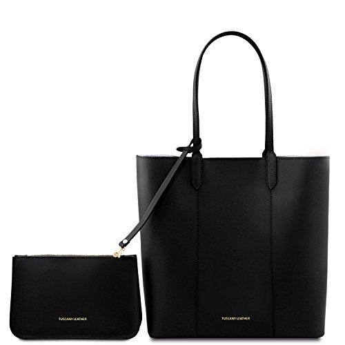 Tuscany shopper Nero nero pelle in Borsa Leather Dafne TL141709 xOrwOq