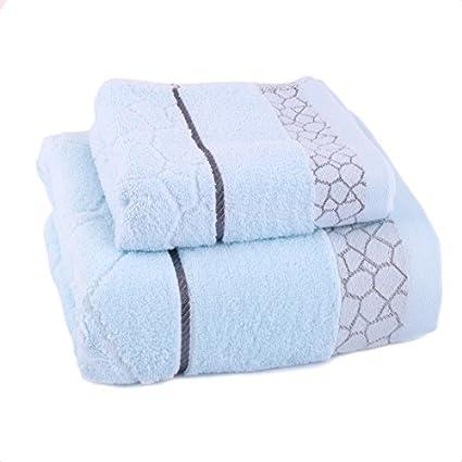 eDealMax 100% Algodón Mezcla Inicio Baño Suavidad absorbencia DE 2 piezas juego de toallas Azul