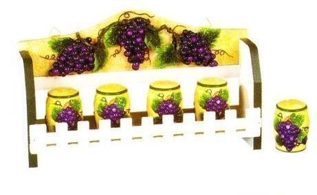 TUSCANY GRAPES 3-D Wood Spice Rack & 5 Jars Set Grape *NEW!*