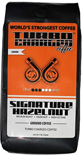 World's Strongest Coffee - Turbo Charged Coffee - Ground Coffee (Signature Hazelnut, 16oz bag)