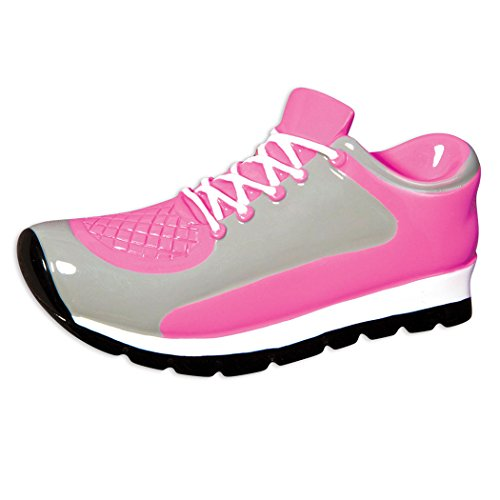 (Personalized Sneaker Christmas Ornament for Tree 2018 - Pink Grey Sport Shoes - Athlete Coach Hobby Running Fashion Game Championship Woman Star Casual Lady Air Workout -Free Customization by Elves)