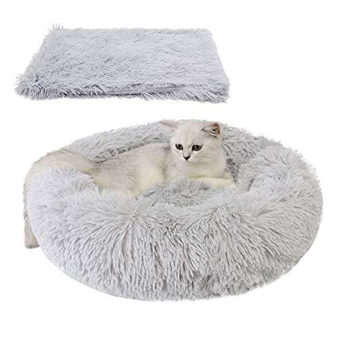 Legendog Bett für Katze,Hundekissen Flauschig Katzenbett Set mit Decke,Rutschfestes und Weiches Rundes Katzen Schlafsofa…
