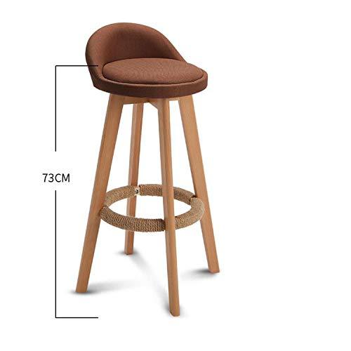 (FAT BIG CAT Bar Stool Nordic Modern Minimalist Household Solid Wood HigStool Bar Stool Bar Chair Leisure Back Chair Stool,Style 9)