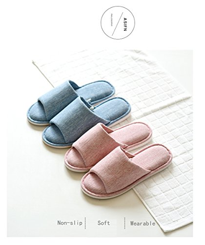 Asifn Indoor Home Slippers Memory Foam Men Women Cotton Cozy Massage Flax House Casual House (7.5 US Women/6 US Men, Pink) by Asifn (Image #3)