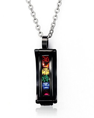 Stainless Steel Rainbow Crystal Pendant Necklace for Gay & Lesbian Pride,Free Chain 20 inch (Gay Jewelry)