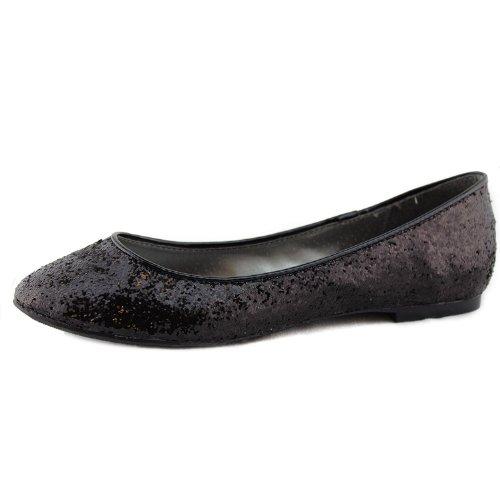 Glissement De Paillettes Métalliques Noires Des Femmes Sur Des Chaussures De Ballet Classique Basique, Noir, 8.5