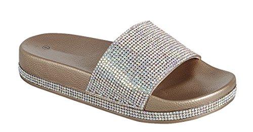 Cambridge Utvalda Womens Öppen Tå Crystal Rhinestone Dubbade Glitter Slip-on Flat Slide Sandal Ökade Guld