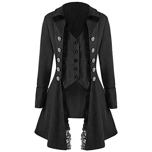 Sinfu Men's Coat Tailcoat Jacket Gothic Frock Coat Uniform Costume Praty Outwear (XXL, Black) -