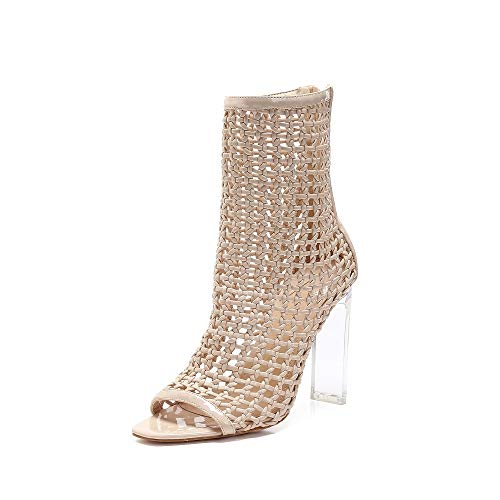 MACKIN J Sandals 332-2 Hand-Woven High Heel Women Sandals Lucite Heel Dress Sandals Peep Toe Ankle Booties (6, Nude)