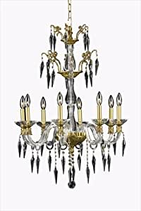 Elegant Lighting 5808D25FG/SS Grande Collection 8-Light Hanging Fixture with Swarovski Elements Crystal Clear, Gold Finish
