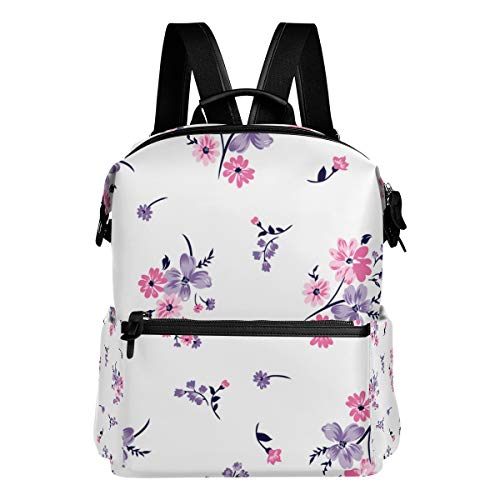 TARTINY Floral Bouquet Vector Pattern Small Flowers Laptop Backpack Leather Strap School Bag Outdoor Travel Casual Daypack ()