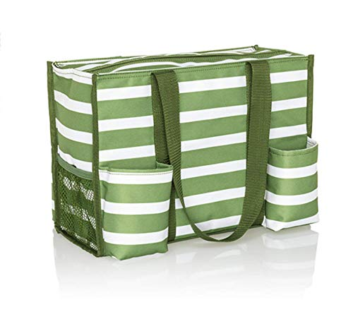 Thirty One Zip Top Organizing Utility Tote (4451) in Green Cabana Stripe
