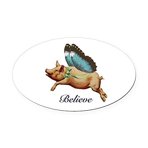 CafePress - Believe Oval Car Magnet - Oval Car Magnet, Euro Oval Magnetic Bumper Sticker