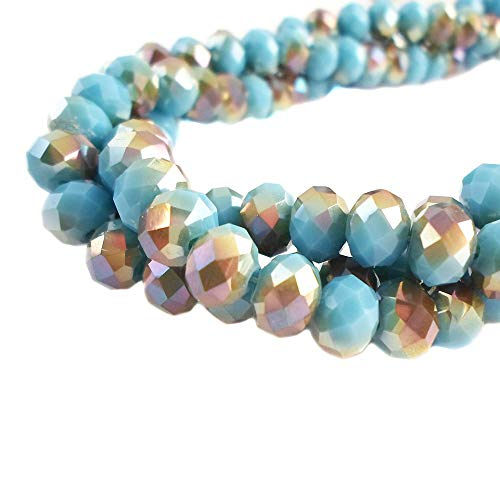 BeadsOne 10mm - 360 pcs - Glass Rondelle Faceted Beads Brown Aqua Multicolored for jewerly Making findings Handmade jewerly briolette Loose Beads Spacer Donut Faceted Top Quality 5040 (C110)