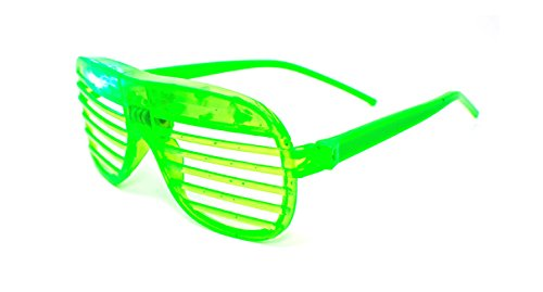 1 x Green Coloured Flashing Retro LED Shutter Style Glasses Slotted for Adults and Kids Parties Party Events Raves - Buy Matrix Sunglasses