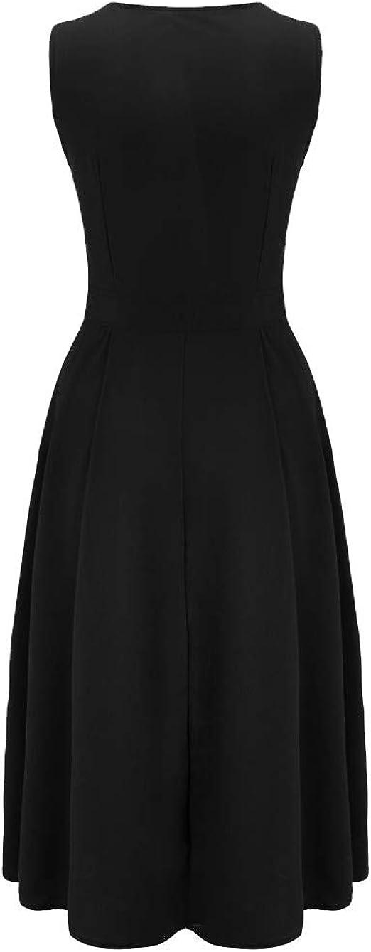 AIFGR Falda de señora Damas Vestido de Playa sin Mangas Botones de Color Puro con Cuello en V Vestido Maxi de Fiesta Fiesta de Noche Vestido (Negro, L): Amazon.es: Ropa y accesorios