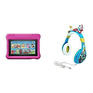 Fire 7 Kids Edition Tablet (Pink) + Toy Story Headphones (Forky)