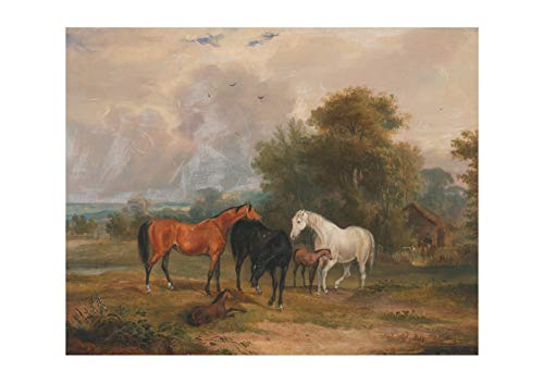 - Spiffing Prints Francis Calcraft Turner - Mares & Foals in A Field - Large - Matte - Framed