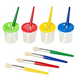 colored paint brushes - BATTOP 4 Pieces No Spill Paint Cups with Colored Lids and 4 Pieces Painting Brushes Set