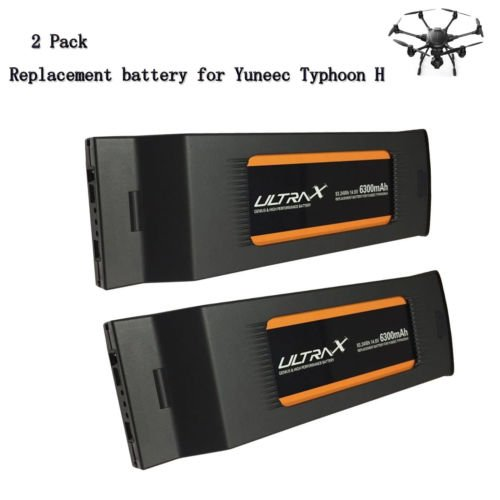 2 Pack Ultrax 6300mAh 14.8V Replacement Lipo Battery 4S1P for Yuneec Typhoon H Drone