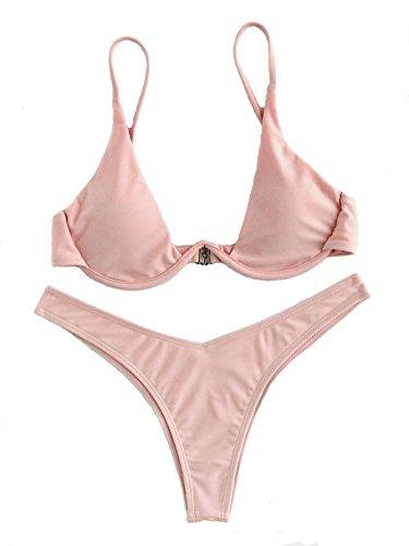 - Verdusa Women's Sexy Triangle Bathing Two Pieces Swimsuit Bikini Set Pink S