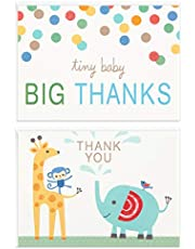 Hallmark Baby Shower Thank You Cards Assortment, Zoo Animals (50 Cards with Envelopes for Baby Boy or Baby Girl) Elephant, Giraffe, Monkey