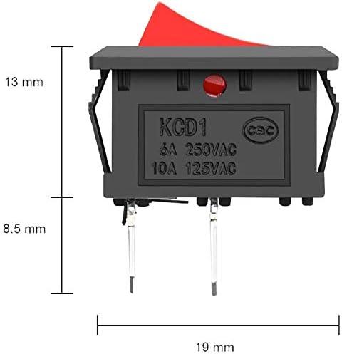 Rosso 6A//250V GTIWUNG 35Pcs Mini Interruttore a Bilanciere 2 Pin SPST Mini Interruttore Barca,Interruttore a Dondolo,Auto Interrutore Quadrato Per Auto Barca,Elettrodomestici 10A//125V