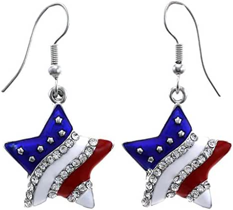 Patriotic Red White Blue American USA Flag Star Dangle Drop Earrings 4th of July Independence Day Gift