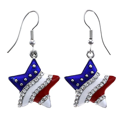 Patriotic Jewelry (Patriotic Red White Blue American USA Flag Star Dangle Drop Earrings 4th of July Independence Day Gift (Star Hook))