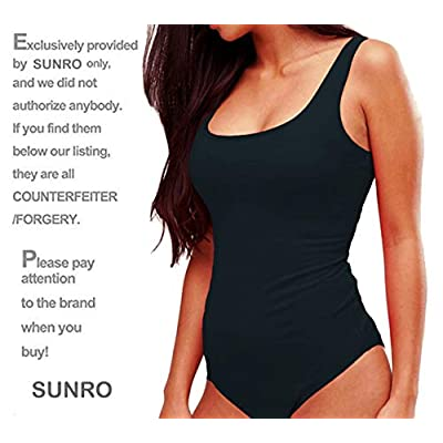 SUNRO Women's Sexy Scoop Neck Bodysuits Jumpsuits: Clothing