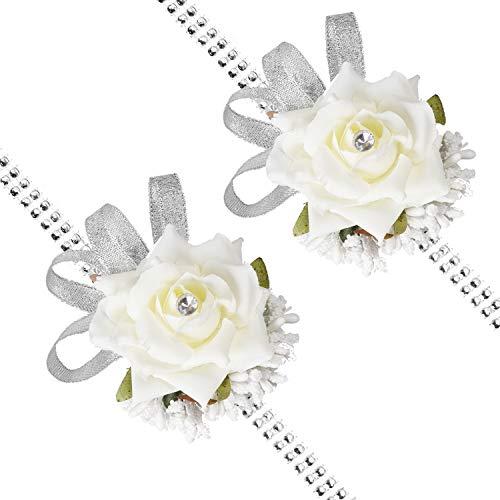 DearHouse 2Pack Rose Wrist Corsage Wristband, Girl Bridesmaid Wedding Rose Silvery Bling Ribbon Rhinestone Stretch Bracelet Wedding Prom Wrist Corsage Hand Flower
