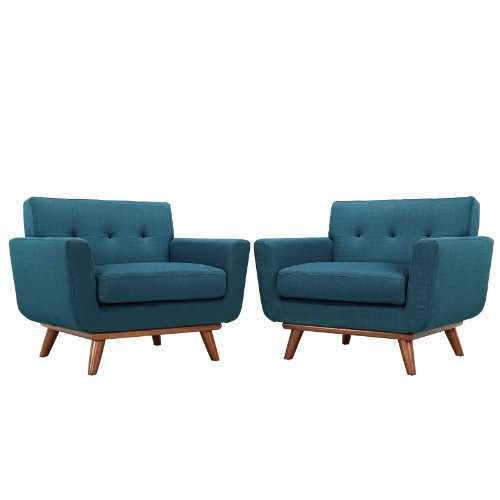 - Modern Contemporary Armchair Set of Two Navy