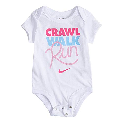 NIKE Children's Apparel Baby Graphic Bodysuit, White/Pink/Blue, 0/3M (Baby Girl Nike Clothes)