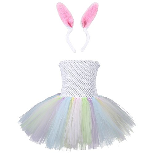 [Easter Baby Girls Lovely Rabbit Bunny Bubble Dress Layered Frilly Dance Tutu Tulle Skirt Costume] (White Rabbit Dance Costumes)