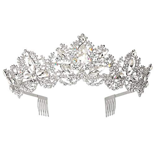 Bridal Wedding Party Crystal - Sppry Women Tiara with Comb - Baroque AB Crystal Crown for Bridal Queen Princess Girls at Wedding Birthday Pageant Party (Silver)