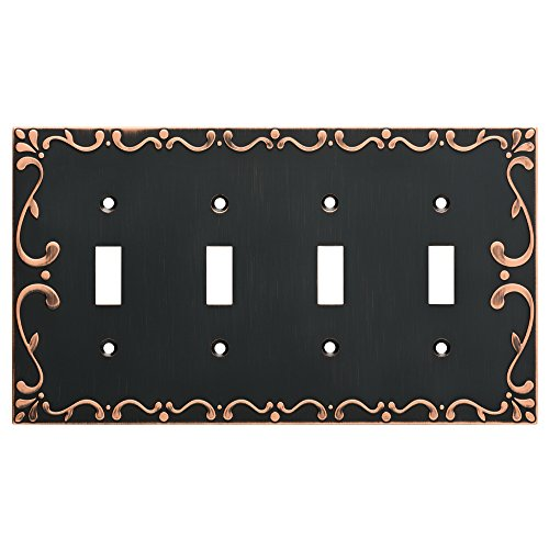 Franklin Brass W35080-VBC-C Classic Lace Quad Switch Wall Plate/Switch Plate/Cover with Copper Highlights, Bronze