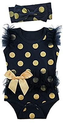 Cosland Baby Girls' Lace Tutu Dress Bodysuit with Headband