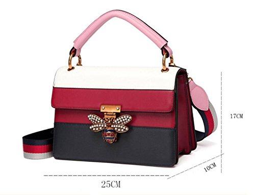 red Cuir Simple À Bandoulière Gshga Lock Main En Bag Pearl Sac Bee Nouveau Totes Bandoulière Red Véritable 1ZWZf