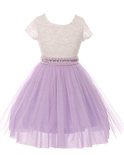 iGirlDress Big Girls Sleeves Lace Tulle Flower Girls Dresses 8 Ivory/Lavender -