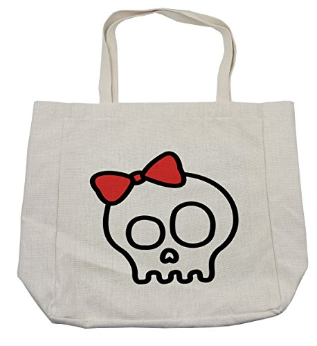 Lunarable Skull Shopping Bag, Illustration of Baby Skull Girl with Lace and Halloween Dead Head Teen Emo Art, Eco-Friendly Reusable Bag for Groceries Beach Travel School & More, (Day Of The Dead Compared To Halloween)