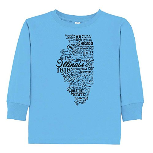 inktastic Illinois Word Salad- Toddler Long Sleeve T-Shirt 4T Light Blue - Hare O To Chicago
