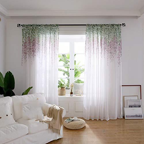 Summer Tulle Curtains, Lovewe Leaves Sheer Curtain Tulle Window Treatment Voile Drape Valance 1 Panel Fabric ()