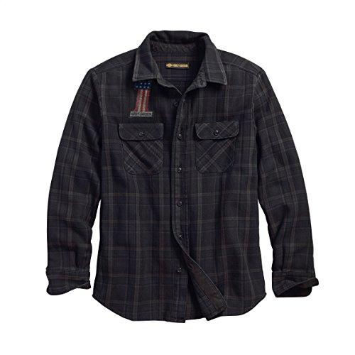 Harley Embroidered Shirt Davidson (Harley-Davidson Official Men's Over-Dyed Plaid Slim Fit Shirt, Plaid/Black (X-Large))