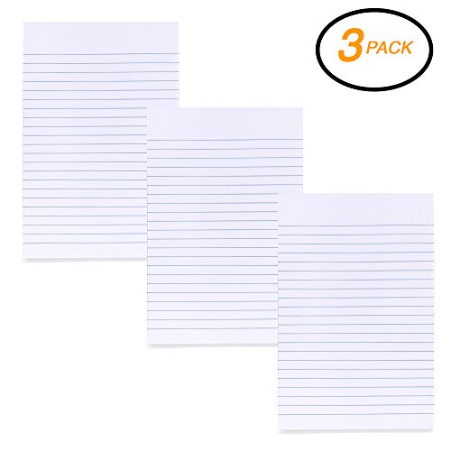EMRAW Wide Ruled White Paper Cover 100 Sheets Capacity Writing Tablet - 100 Ct. 6 Inch X 9 Inch (Pack of 3) (Rule Colored)