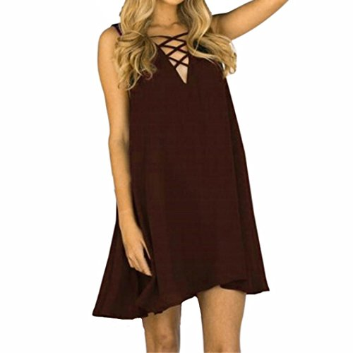 Sleeve Lap Neck Tee (HOT SALE ! V-Neck Cross Dress,BeautyVan Beautiful Charming Women Plus Size Summer Sleeveless Loose V-Neck Cross Chiffon Dress (XL, Brown))